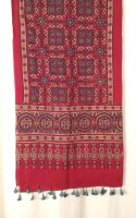 Genuine Ajrakh hand block printed stole - Red and light blue (8)