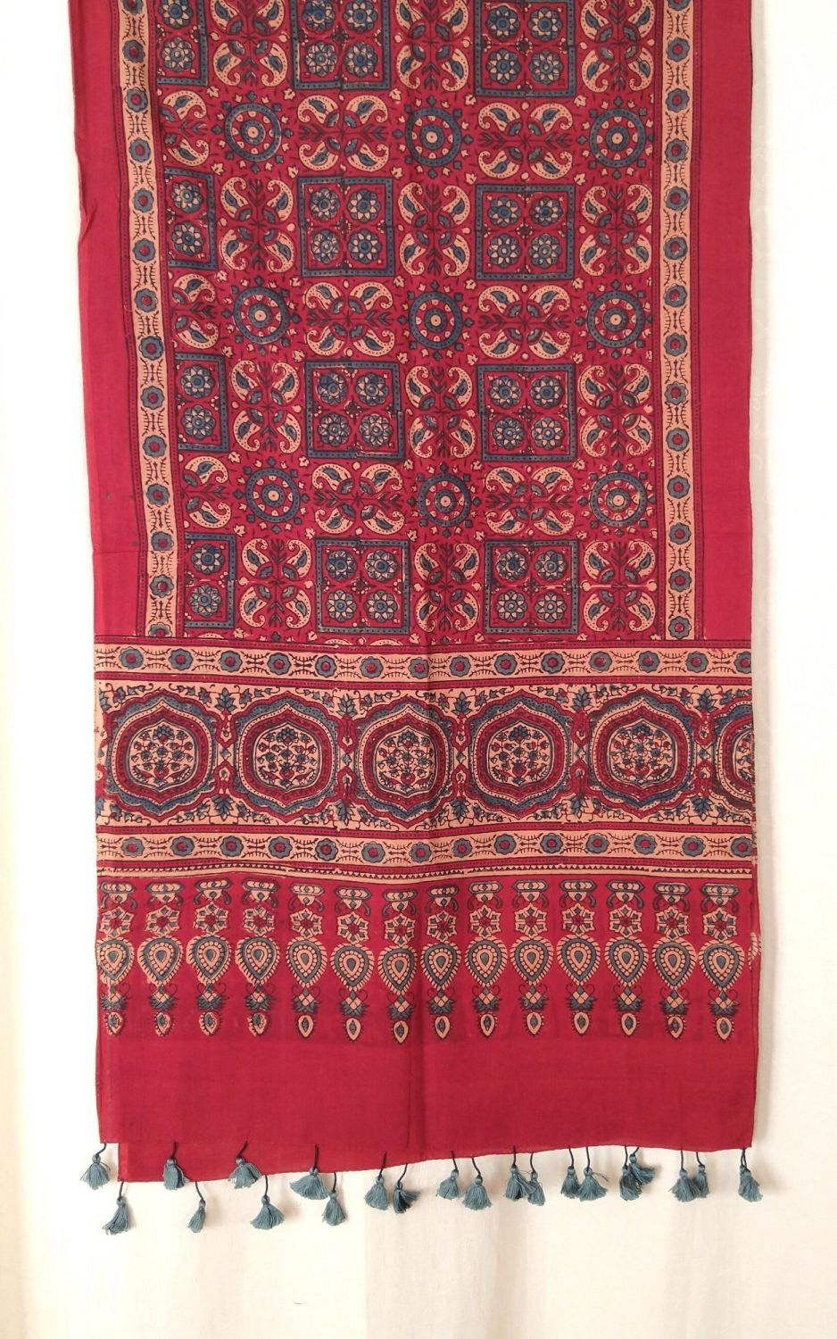 Genuine Ajrakh hand block printed stole red (8)