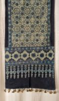 Genuine Ajrakh hand block printed stole - Dark blue and light blue (18)