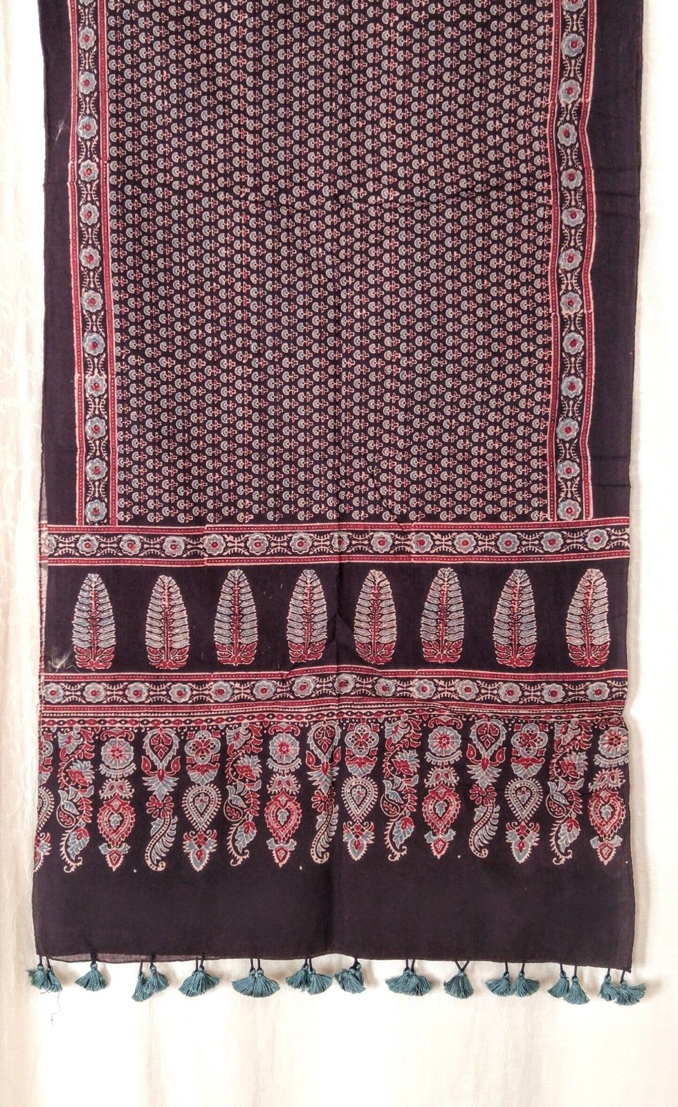Genuine Ajrakh hand block printed stole - Dark blue and red (14)