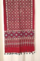 Genuine Ajrakh hand block printed stole - Red and blue (9)