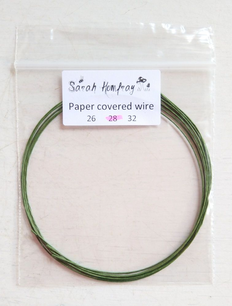 Paper covered wire, 28 guage Green (Non-metallic)
