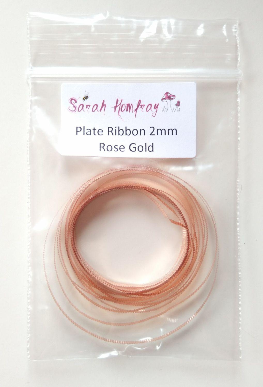 Plate ribbon - Rose gold ribbed 2mm