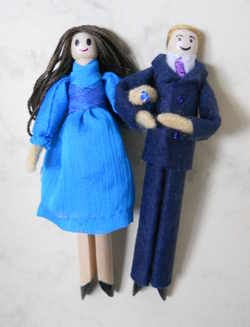Wills and Kate peg dolls