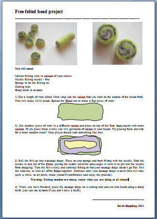 Felted beads free instructions image