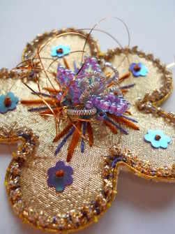 Disco daisy goldwork brooch