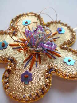 Disco daisy goldwork brooch