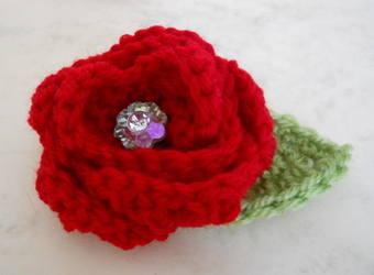 Red crochet rose