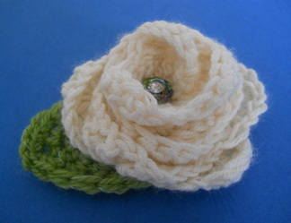 Cream crochet rose