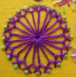 Herringbone circle stitch
