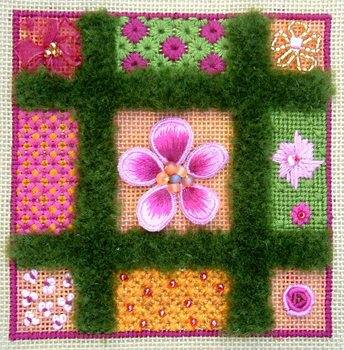 Flower sampler, Canvas and stumpwork, 2009