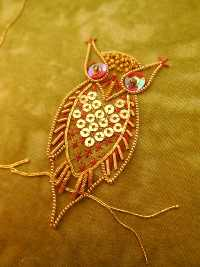 goldwork owl closeup