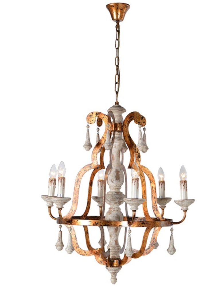 Unique bronzed white wash 6 Arm Chandelier code VX001