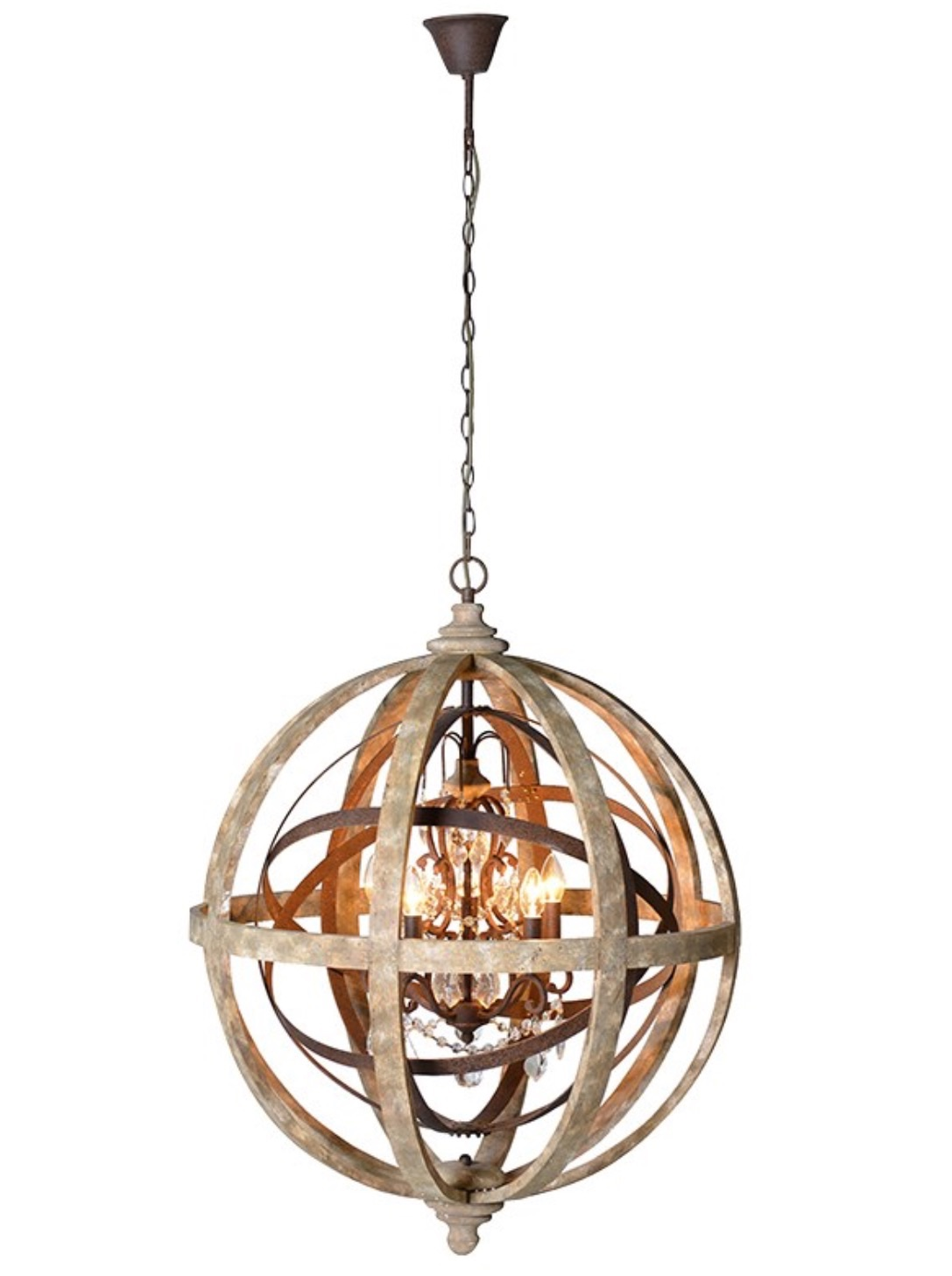 Metal Globe with Crystals chandelier Code VZ016