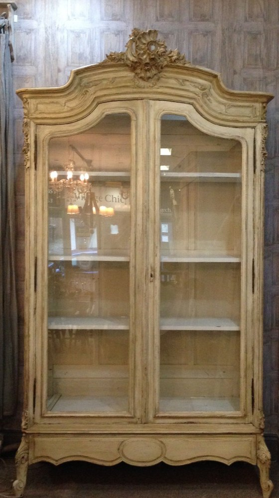 French Antique Armoire Vitrine Painted! Louis XV
