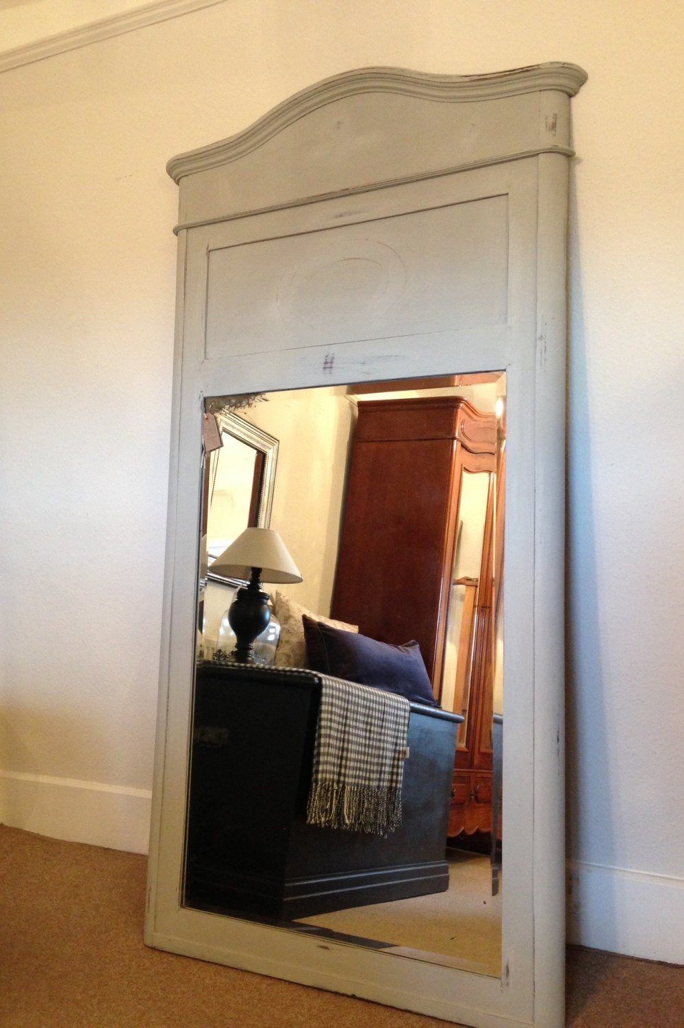 Antique tall Mahogany Mirror Paris Grey