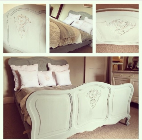 French Louis XV Duck Egg Painted Bed Double Bed