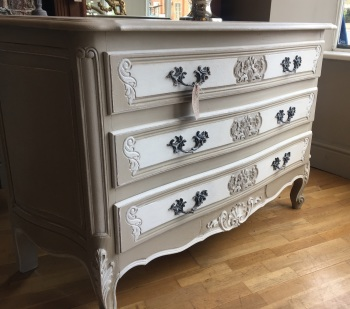 Large Painted French Louis XV Chest of Drawers Buffet