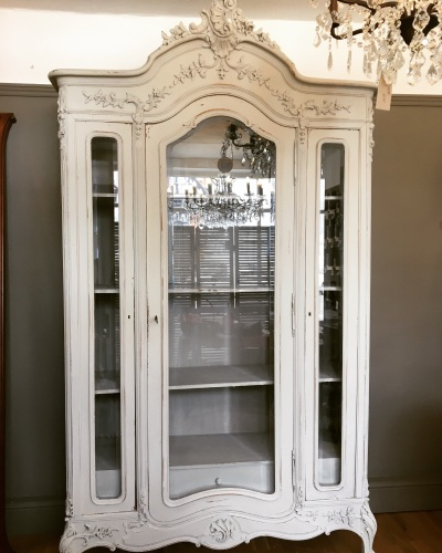 French Louis XVI Armoire hand painted in Old Flax