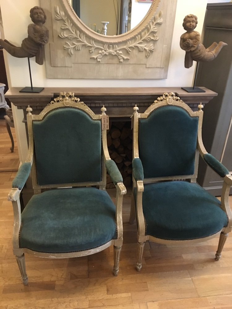 Painted French Renaissance chair with peacock fabric