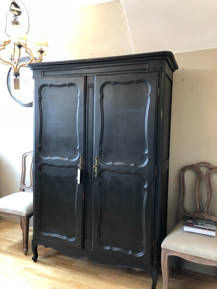Graphite painted linen armoire