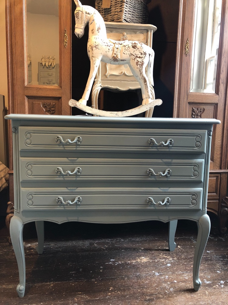 """Hand painted French chest of drawers colour is """"Blue Reef"""""""