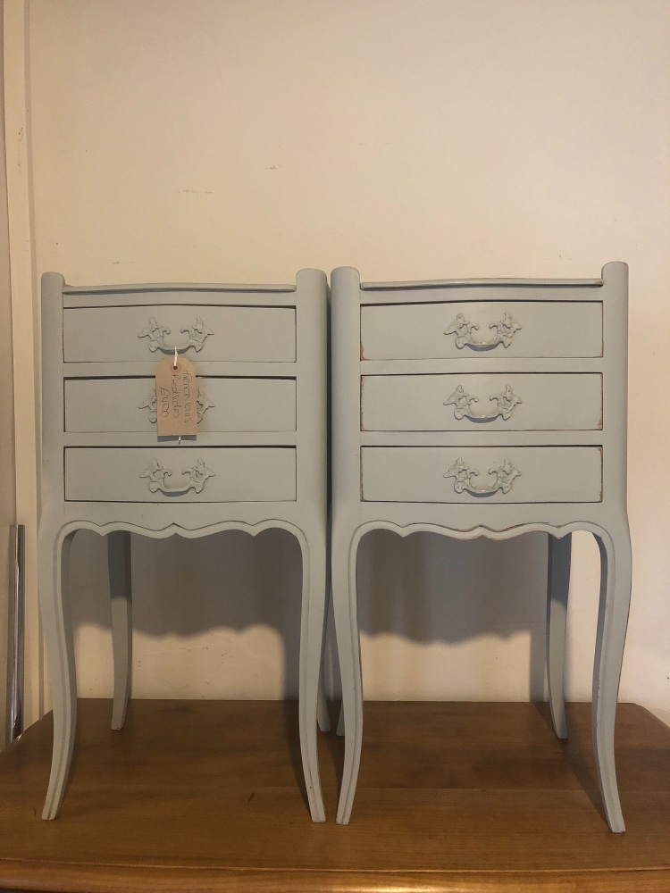 Pair of French painted bedside tables painted in evening Shadow