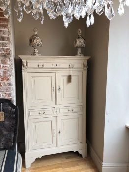 French Renaissance cabinet Armoire cupboard painted