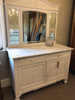 French Oak & Marble washstand Painted White
