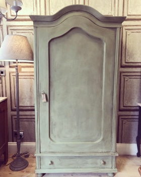 Dutch Painted Armoire wardrobe hall cupboard in chateau Grey