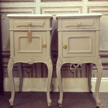 Pair of French Louis Pot cupboards with marble tops