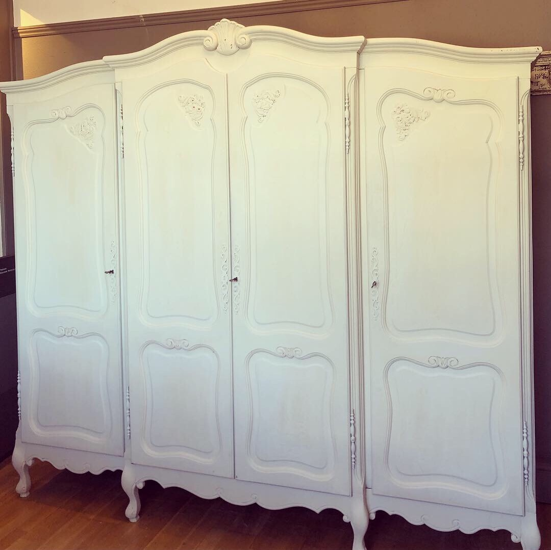 "Large 4 door French Louis Armoire Painted in ""Bone"""