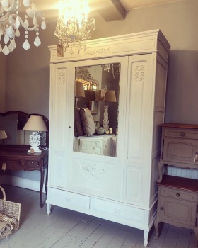 French Oak Mirrored Armoire wardrobe