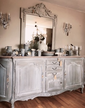 Curved French Painted Sideboard