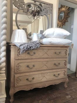 Raw Oak French Commode chest of drawers