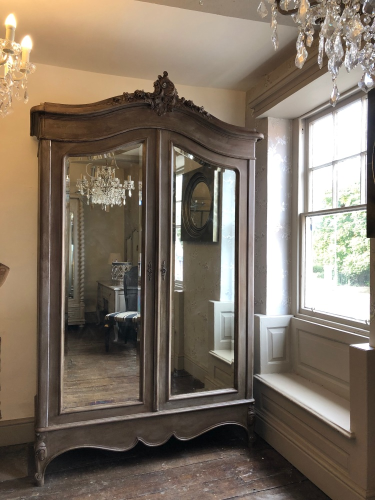 Large French double mirrored Louis XV armoire