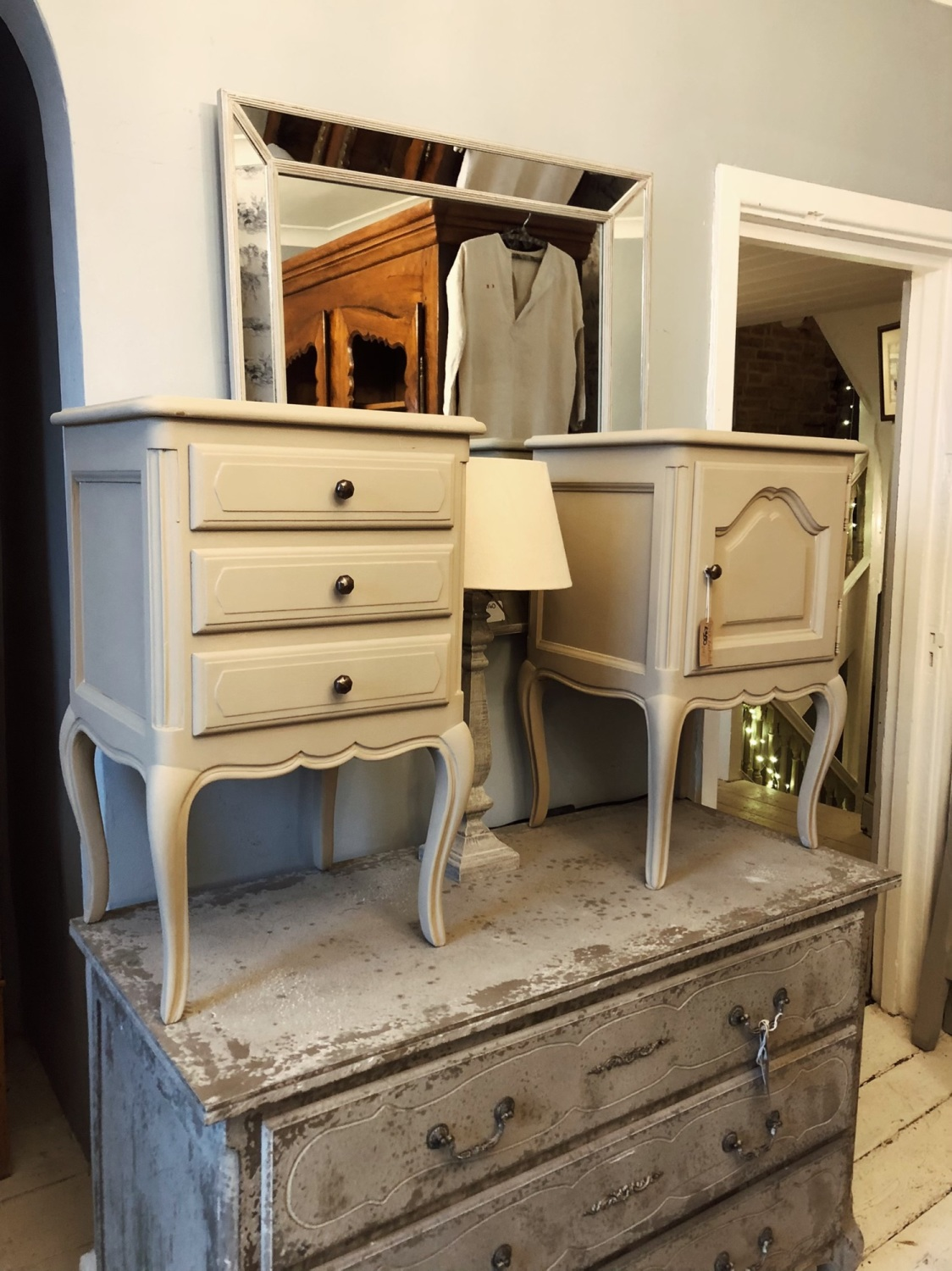 Matching pair of his & hers painted bedside tables