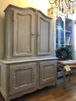 French painted linen cupboard