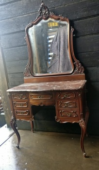 Ornate french marble top dressing table