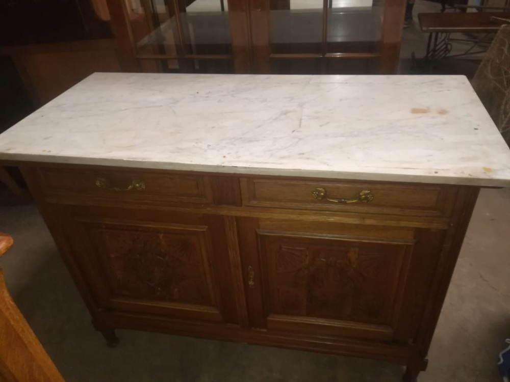 French marble top commode cupboard
