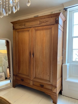 Raw Oak French Renaissance armoire wardrobe