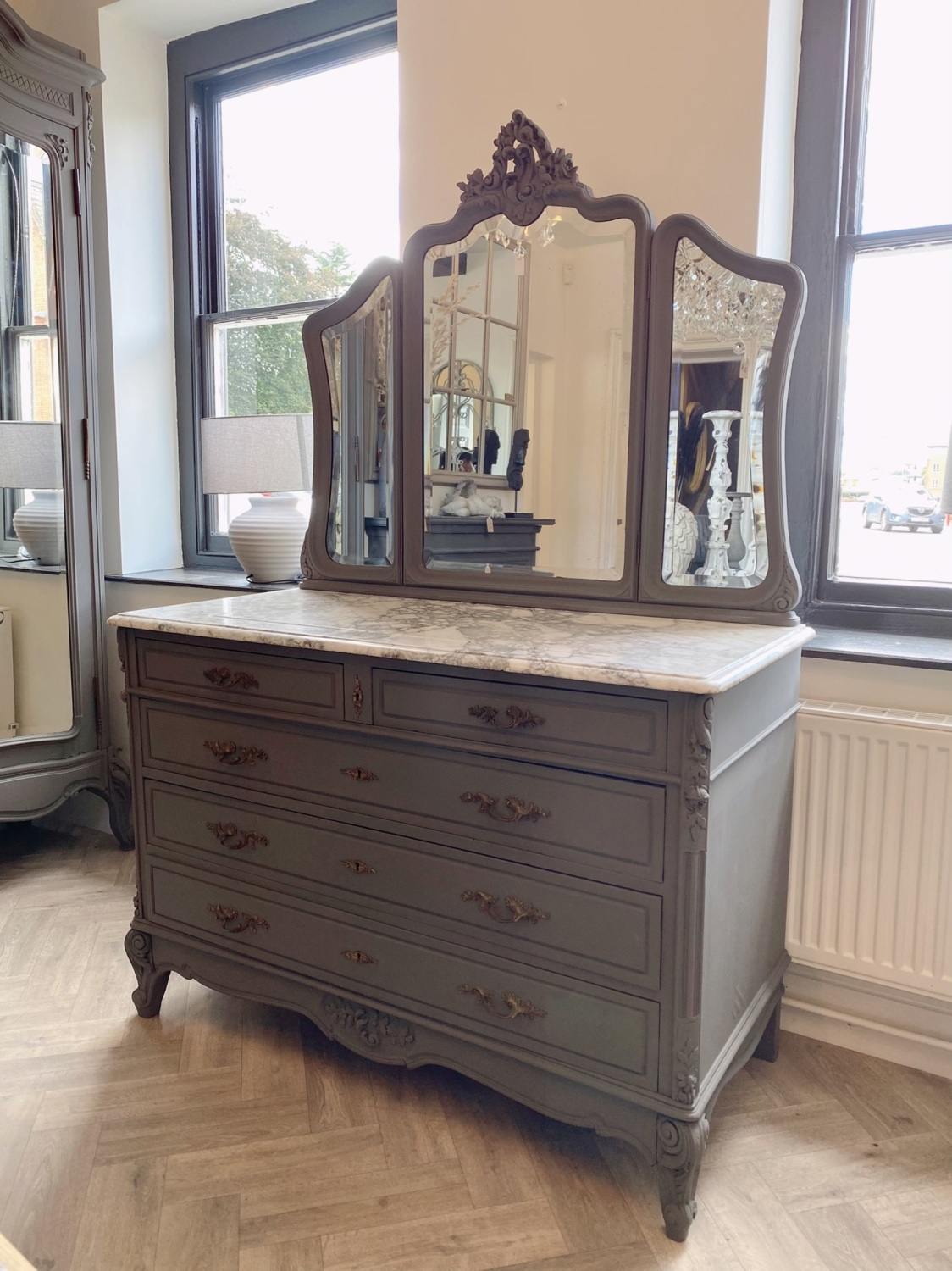 Painted Rose wood French commode marble & mirror