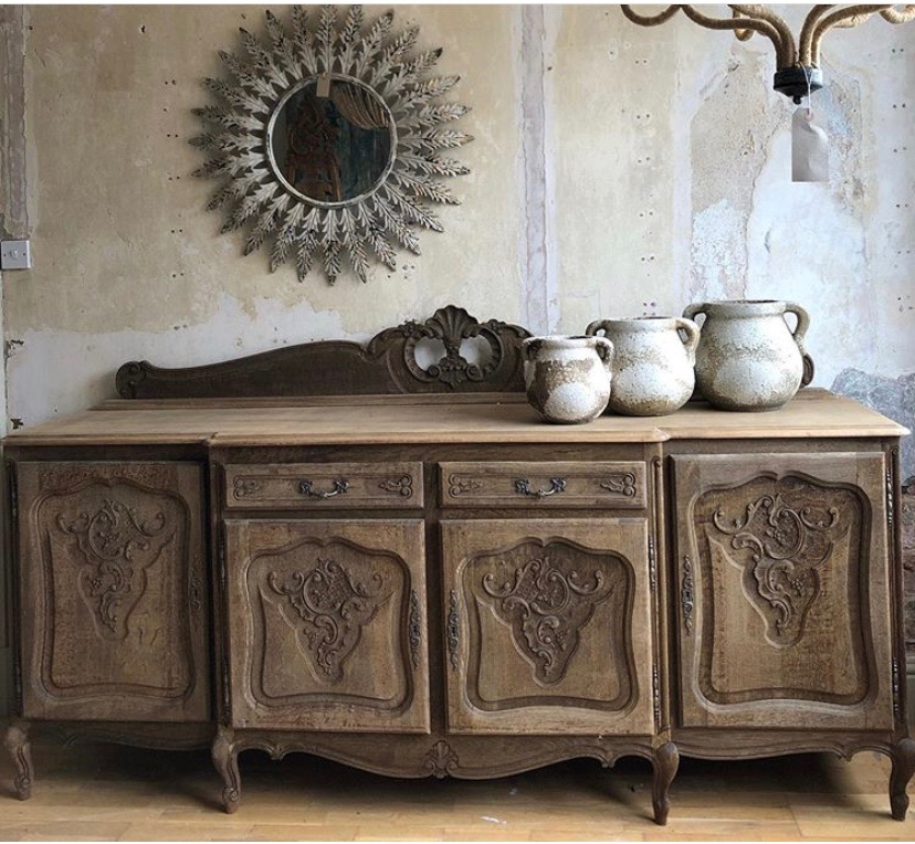 Raw French Oak Louis XV Sideboard