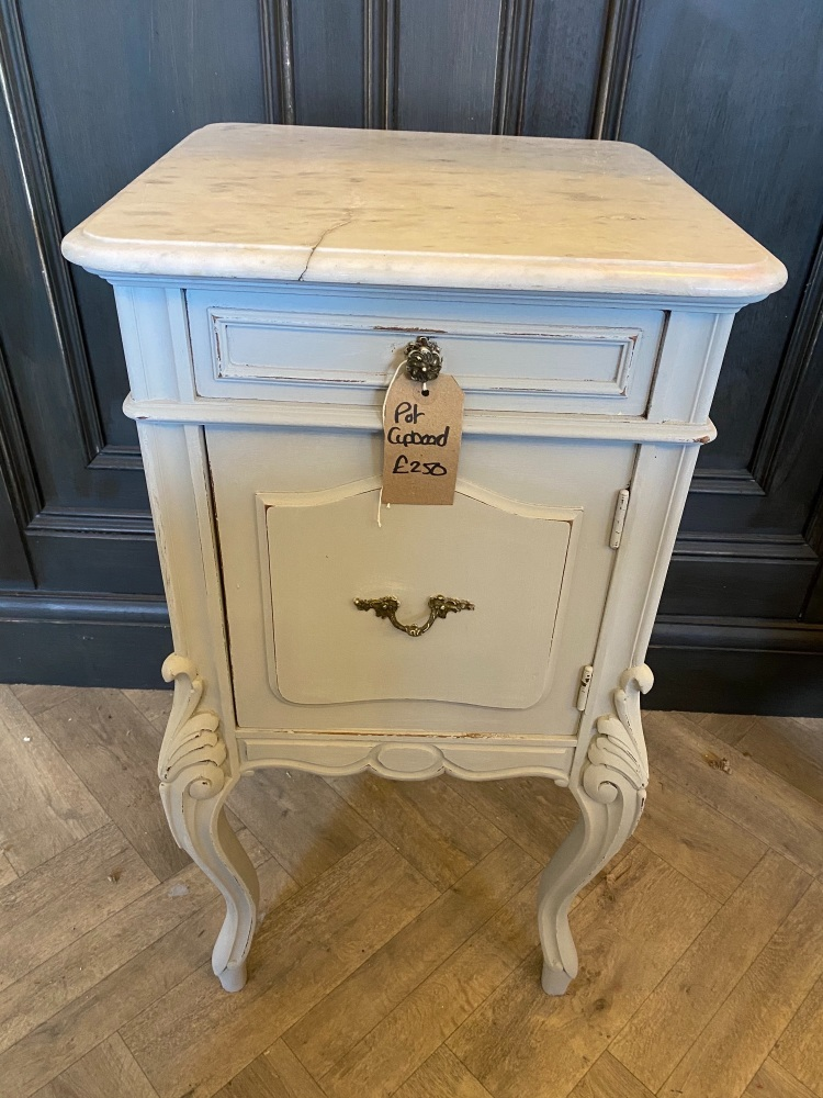 Louis xv pot cupboards with marble top