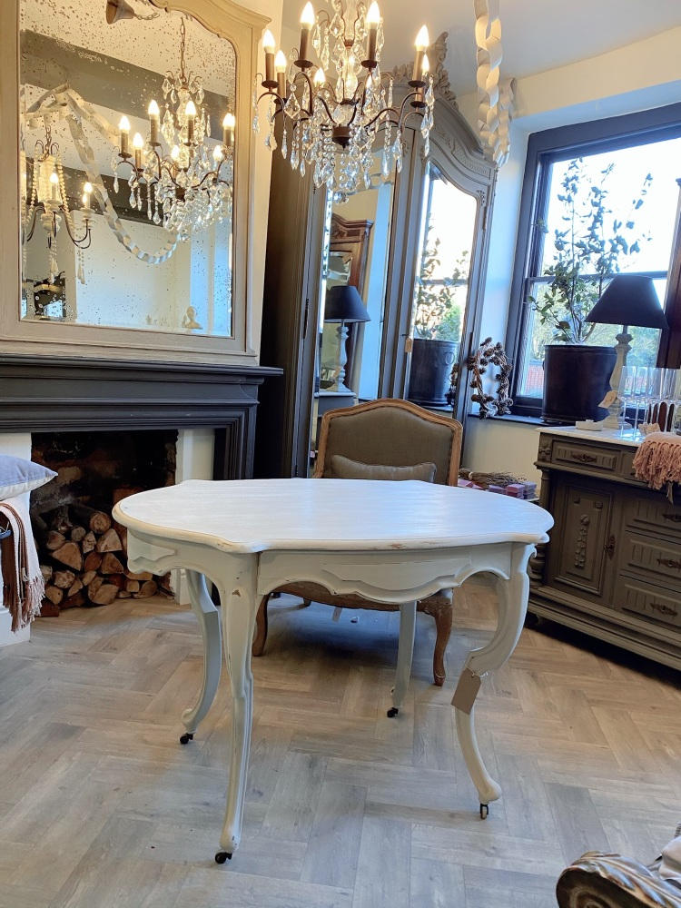 French painted occasional table with drawer