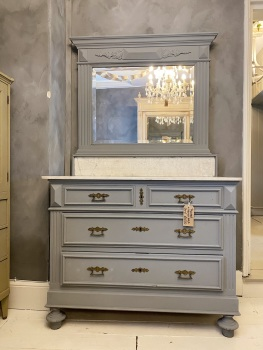 Painted french Renaissance washstand with marble & mirror