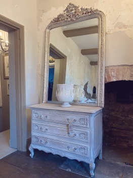 Oak white washed french commode