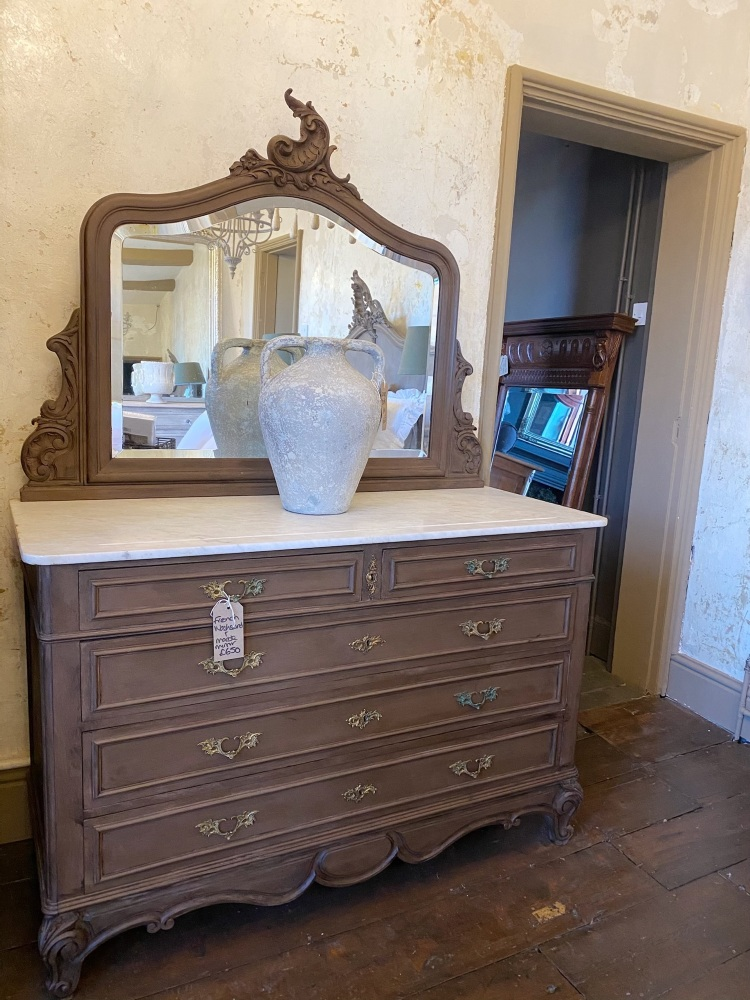 Antique French Washstand with marble & mirror