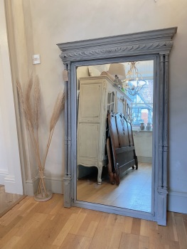 French oak painted mirror antique