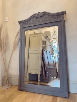 Antique painted oak french mirror